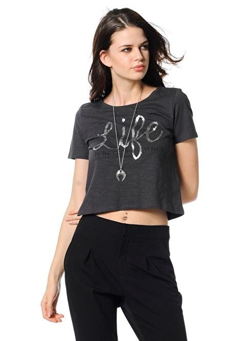 Only Baskılı T-Shirt Siyah